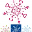 Color snowflakes with abstract hearts — 图库矢量图片