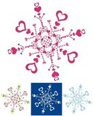 Color snowflakes with abstract hearts — Stock Vector