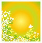 Floral φόντο καλοκαίρι με πεταλούδα — Διανυσματικό Αρχείο