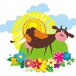 Vector de stock : Rural background with cute cartoon cow