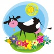Rural background with cute cartoon cow - Stock Vector