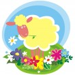 Vector de stock : Rural background with cute little sheep
