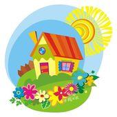 Plattelandsachtergrond met schattige huisje — Stockvector