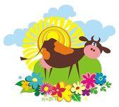 かわいい漫画牛と農村の背景 — ストックベクタ