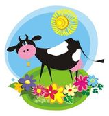Rural background with cute cartoon cow — Vector de stock