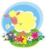 Rural background with cute little sheep — Vector de stock