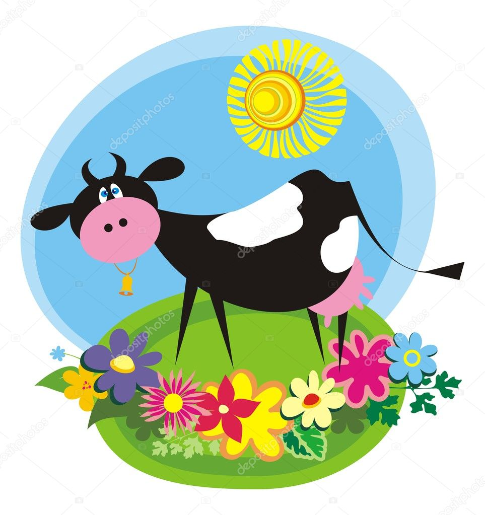Rural background with cute cartoon cow. Vector illustration — Stock Vector #2489270