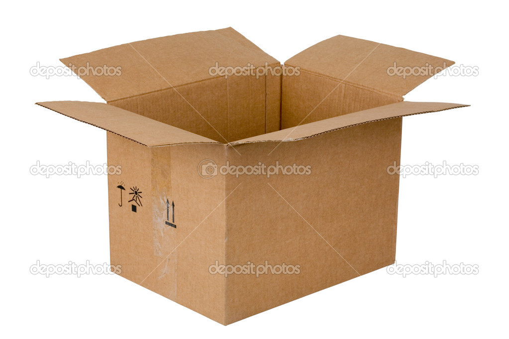Open cardboard box, isolated on white — Stock Photo #2196800