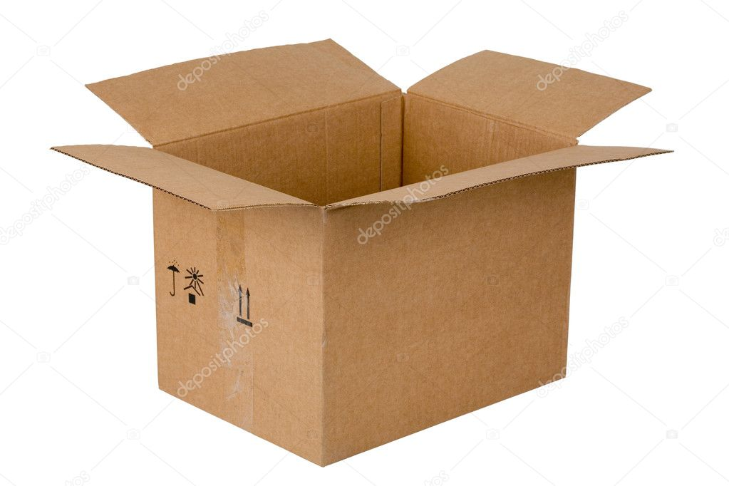Open cardboard box, isolated on white  Photo #2196800