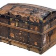 Royalty-Free Stock Photo: Antique wooden trunk on white