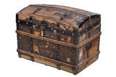 Antique wooden trunk on white — Stock Photo