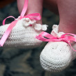 Hand-made baby's bootees — Stock Photo