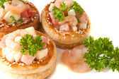 Volauvens with shrimp salad — Stock Photo