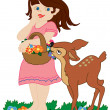Girl and small deer - Stock Vector