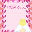 Valentine card with baby angel - Stock Vector