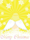 Gold christmas card with baby angel — Stock Vector