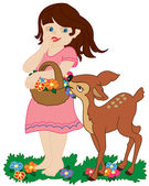 Girl and small deer — Stock Vector