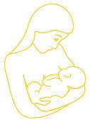 Mother breastfeeding her baby — Stock Vector