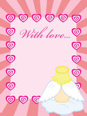 Valentine card with baby angel — Stock Vector