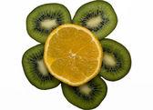 Slices of kiwi and orange isolated — Stock Photo