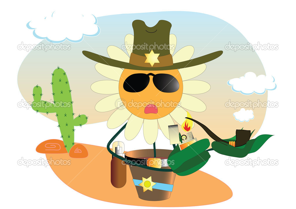 Vector camomile the sheriff — Stock Vector #1763190