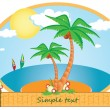 Palm trees about the sea — Stock Vector