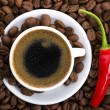 Hot coffee with chili — Stock Photo #1742110
