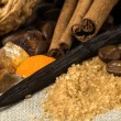 Stock Photo: Vanilla, cinnamon sticks and other spices and in