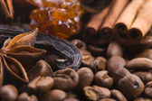 Aroma coffe. ingredients. — Stock Photo