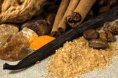 Vanilla, cinnamon sticks and other spices and in — Stock Photo