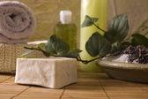 Lavender bath items. aromatherapy — Stock Photo