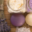 Lavender bath items. aromatherapy — Stock Photo
