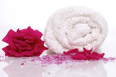 Rose bath items — Stock Photo