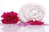 Rose bath items — Stock Photo