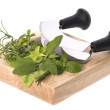 Royalty-Free Stock Photo: Chopping fresh herbs