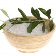 Fresh olive branch and bath salt isolated on the — Stock Photo