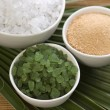 Bath salt and palm leaf — Stock Photo #1792055