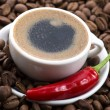 Hot coffee with chili — Stock Photo