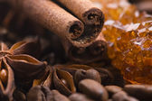 Aroma coffe. ingredients. coffe beens, anise, ci — Stock Photo