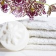 Stock Photo: Spitems with white towels, natural soap and or
