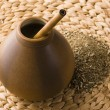 Argentinian calabash with yerba mate — Stock Photo