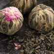 Green chinese tea balls — Stock Photo