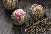 Green chinese tea balls — Stock Photo