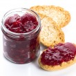 Breakfast of cherry jam on toast — Stock Photo