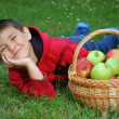 Stock Photo: Boy ad apple