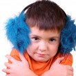Boy  in fur headphones — Stock Photo