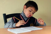 Schoolboy and homework — Stock Photo