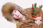 Kobieta z tulipanów — Zdjęcie stockowe