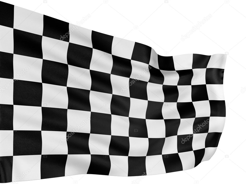 Large Checkered Flag with fabric surface texture. White background.  Stock Photo #1744690
