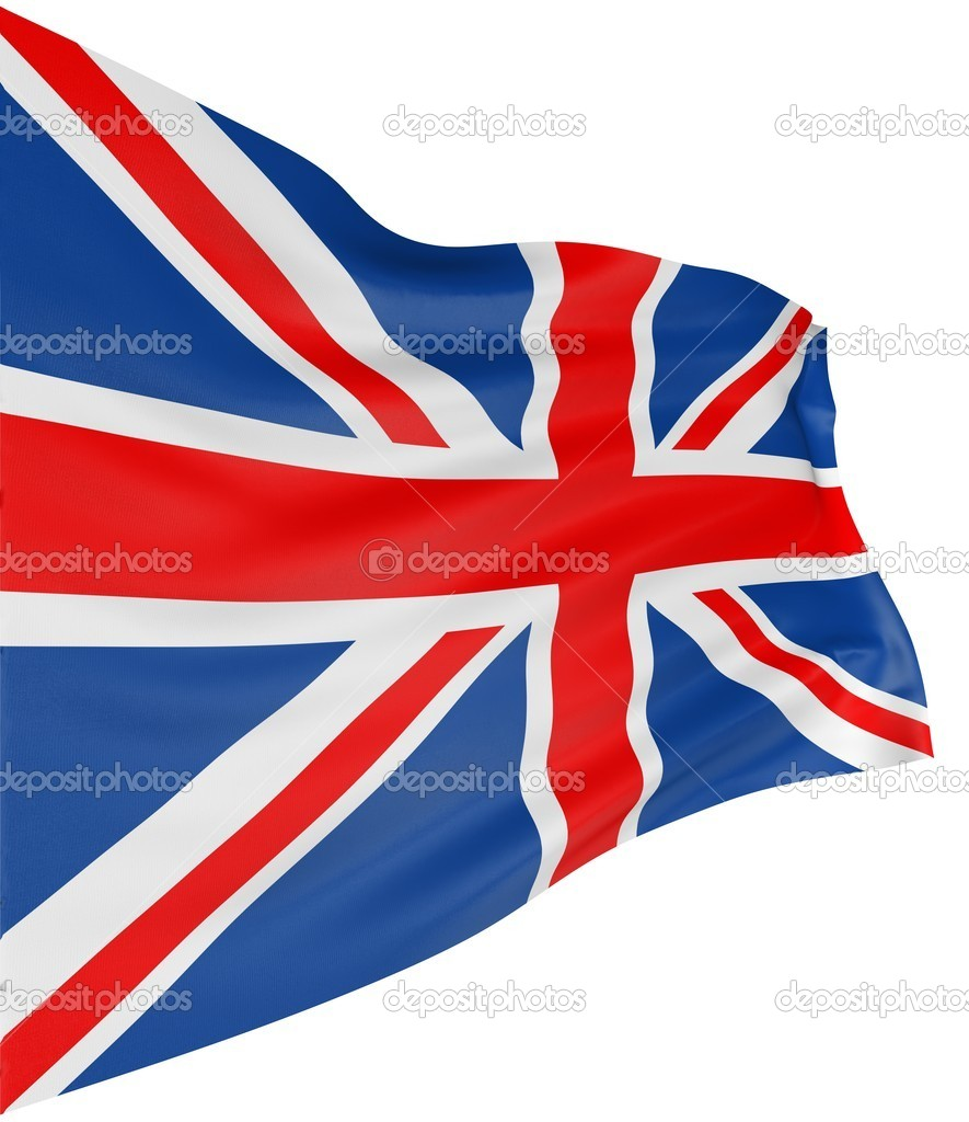 3D UK Flag with fabric surface texture. White background. — Stock Photo #1745772